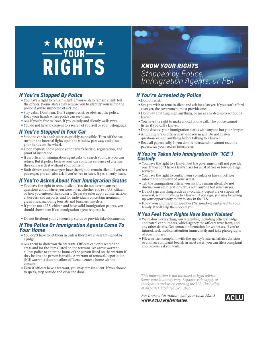 ACLU's Know Your Rights