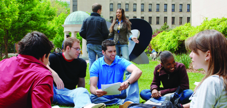 Students hang out together on Kogan Plaza