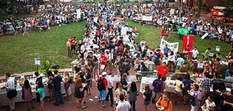 Visit the student organization fair on the University Yard.