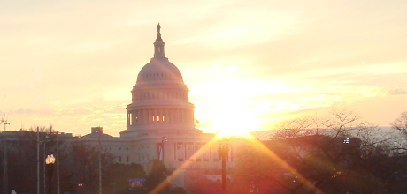 Sunrise over the US Capitol Building on Inauguration Day 2009
